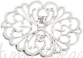 04163 Tussenstuk blad Antiek zilver (Nikkelvrij) 62mmx42mmx2mm 1 stuks