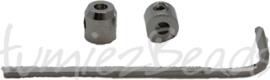 00469 Eindkap met imbussleutel Metaalkleurig (Nikkel vrij) 6mmx6mm; gat 2mm 1 setje