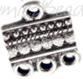 01322 Verdeler 1-3oogjes Metaalkleurig (Nikkelvrij) 15mmx13mm  6 stuks
