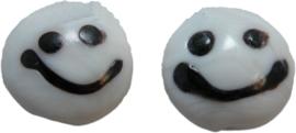 01918 Lampwork kraal handmade Lentil smiley Wit 20mmx9mm 4 stuks