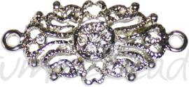 04160 Tussenstuk ornament Antiek zilver (Nikkelvrij) 30mmx14mmx2mm; oog 2mm  1 stuks