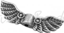 01942 Spacer vleugel Antiek zilver (Nickel vrij) 21mmx7mm; gat 1,5mm 5 stuks