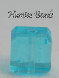 02747 Glaskraal vierkant facet geslepen Licht blauw 8mm 1 streng (±30cm)