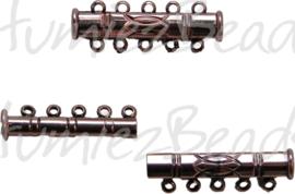 00065 Magneetschuifslot 5-rings Koperkleurig 30mmx10mm