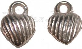 02043 Bedel metallook hartje Zilverkleurig 10mmx7mm; gat 4mm 20 stuks