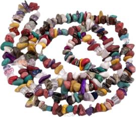 03225 Natuursteen streng ±40cm mixed stones Mixed color 5~8x5~8mm; gat 1mm 1 streng