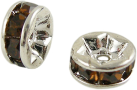 04396 Spacer rondel Rhinestone Zilverkleurig (Nikkel vrij)/ smoked topaz 7 stuks