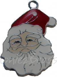 01873 Bedel kerstmanhoofd enamel Zilverkleurig / rood (nikkelvrij) 30mmx23mm