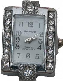 01493 Horloge bling Metaalkleurig/Chrystal 29mmx22mm