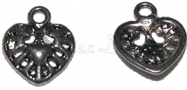 00028 Bedel hart in hart Antiek zilver (Nikkel vrij) 11 stuks