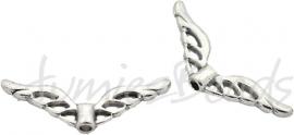 01411  Spacer vleugel  Antiek zilver (Nickel vrij)  8mmx22mmx3mm; gat 1mm
