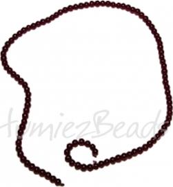 03442 Glaskraal streng (±30cm) imitatie jade Donker rood opaque 4mm 1 streng
