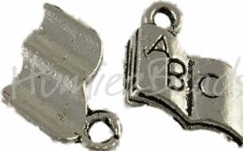 00358 Bedel boek Antiek zilver (Nikkel vrij) 12mmx11mm 11 stuks