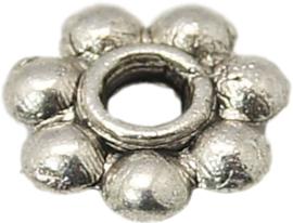 04436 Spacer Daisy Antiek zilver (Nikkelvrij) 6mmx1,3mm; gat 2mm 20 stuks