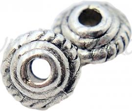 03949 Spacer bicone Antiek zilver (Nickel vrij) 5mmx3mm; gat 1,5mm ±25 stuks