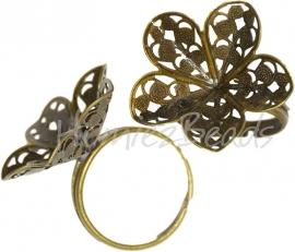 02114 Vingerring Antiek brons Ringmaat 17mm~18mm; setting 25mmx0,7mm 1 stuks