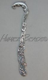 B-0018 Boekenlegger Dolfijn Antiek zilver