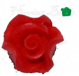 01660 Fimo kraal roosje Rood 10mmx6mm 6 stuks