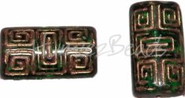 00710 Tsjechische glaskraal Groen goud 22mmx12mmx7mm 4 stuks