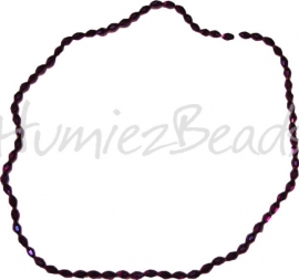 03202 Glaskraal electroplate facet ovaal streng ± 40cm Donker paars AB color 6mmx4mm 1 streng