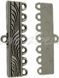 01367 Verdeler 1-7 rings Antiek zilver (Nikkel vrij) 11mmx28mmx1mm; gat 1mm 4 stuks