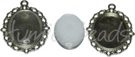 00605 Hanger met cabochon Antiek zilver/transparant 1 set