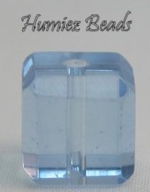 02754 Glaskraal vierkant facet geslepen Lichtblauw 10mm 1 streng (±30cm)