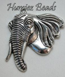 02278 Hanger olifantenhoofd Antiek zilver (nickel vrij) 54mmx47mm