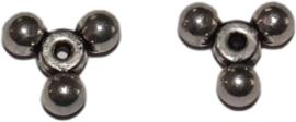 03298 Spacer Triangel Antiek zilver (Nikkelvrij) 10x4mm; gat 1mm 10 stuks