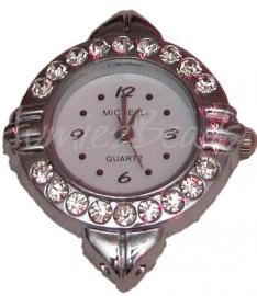 01499 Horloge bling Zilverkleurig/Chrystal 34mmx28mm 1 stuks