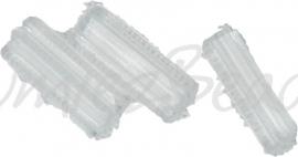 00867 Tsjechische glaskraal langwerpig zes hoekig Transparant 10mmx3,5mm; gat 1mm 11 stuks