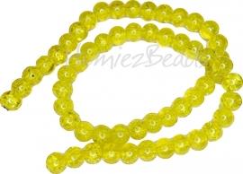 01894 Glaskraal crackle streng ±40cm Geel 8mm 1 streng