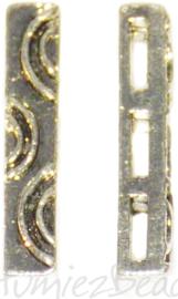 03361 Leerschuiver 3 gaats Antiek zilver 20mmx3mmx3mm; gat 4,5mmx1,5mm 6 stuks