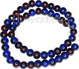 01954 Glaskraal crackle streng ±40cm Blauw-rood 8mm 1 streng