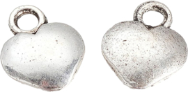 04470 Bedel Hart Antiek zilver (Nikkelvrij) 12,5mmx10mmx3mm; gat 2mm 10 stuks