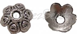 01553 Kralenkap cirkel Antiek zilver (Nikkelvrij) 3,5mmx11mm; gat 3mm 15 stuks