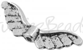 02021 Spacer vleugel Antiek zilver (Nickel vrij) 23mmx9mm; gat 1,5mm