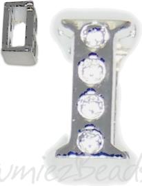 04244 Schuifkraal Letter I Metaalkleurig (Nikkelvrij) 9mmx5mm; gat 6,5mmx3,5mm 1 stuks
