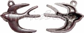 00438 Bedel zwaluw Antiek zilver 24mmx20mm