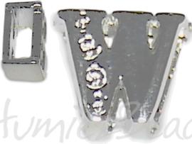 04258 Schuifkraal Letter W Metaalkleurig (Nikkelvrij) 9mmx10mm; gat 6,5mmx3,5mm 1 stuks