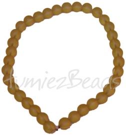 03406 Glaskraal streng (±30cm) frosted Geel 12mm 1 streng
