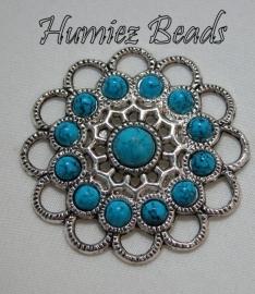 02282 Tussenstuk ornament turquoise Antiek zilver (nickel vrij) 45mmx4mm