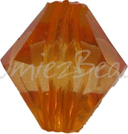 00075 Acryl kraal bicone Oranje 14mm 7 stuks