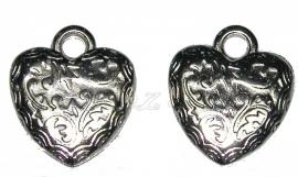 01823 Metallook hanger hart Antiek zilver 29mmx28mm