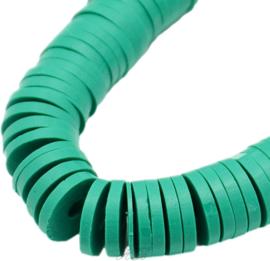 04519 Klei kralen streng ±20cm Katsumi /Heishi Zeegroen 4x0,5~1mm; gat 1mm 1 streng