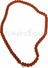 03503 Glaskraal streng (±40cm) imitatie jade Oranje 6mm 1 streng