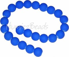 03876 Glaskraal rubberized streng (±35cm) Blauw 12mm; gat 1,5mm 1 streng