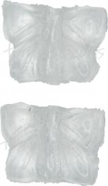 00769 Tsjechische glaskraal vlinder transparant 11mmx14mmx5mm; gat 1mm van boven naar beneden 5 stuks