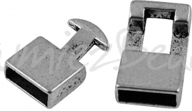 02700 Haakslot Antiek zilver (Nikkelvrij) 22mmx12mmx6mm; gat 10mmx4mm 1 stuks