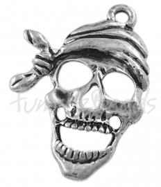 00748 Bedel schedel piraat Antiek zilver (Nikkel vrij) 27mmx19mmx2mm